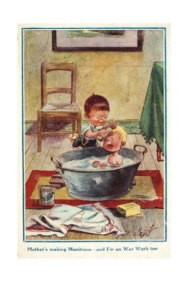 Boy Bathing His Little Brother--Giclee Print