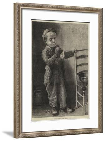 Boy Blowing Bubbles--Framed Giclee Print
