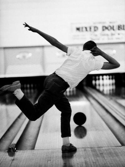 Boy Bowling at a Local Bowling Alley-Art Rickerby-Photographic Print