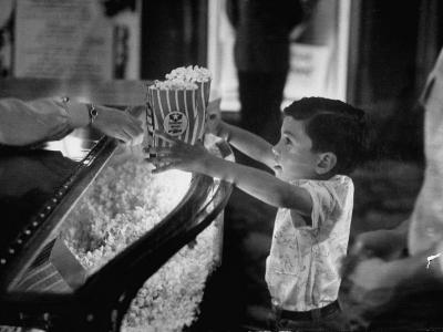 Boy Buying Popcorn at Movie Concession Stand-Peter Stackpole-Photographic Print