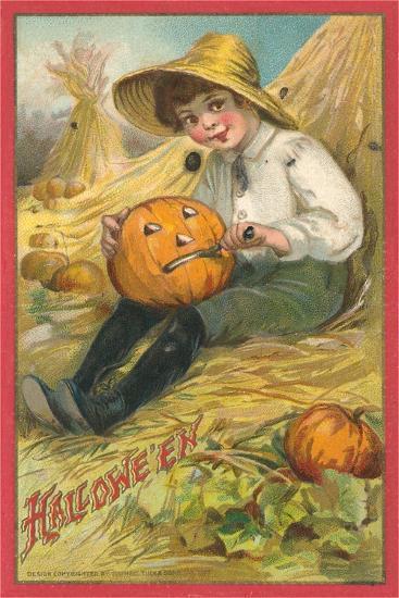 Boy Carving Jack O'Lantern--Art Print