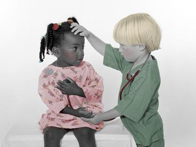 Boy Dressed Like Doctor Checking Girls Forehead for a Fever-Nora Hernandez-Giclee Print