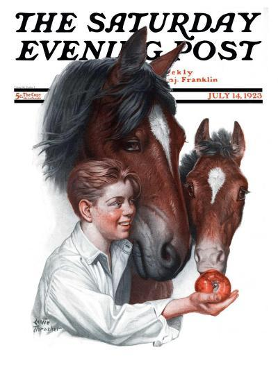 """Boy Feedy Apple to Horses,"" Saturday Evening Post Cover, July 14, 1923-Leslie Thrasher-Giclee Print"