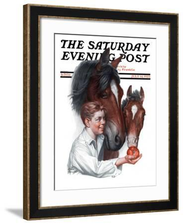 """""""Boy Feedy Apple to Horses,"""" Saturday Evening Post Cover, July 14, 1923-Leslie Thrasher-Framed Giclee Print"""