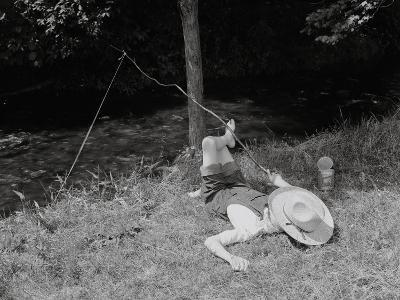 Boy Fishing in the Country-Bettmann-Photographic Print