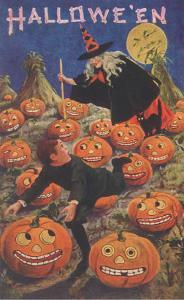 Boy Fleeing Witch and Leering Pumpkins