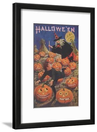 Boy Fleeing Witch and Leering Pumpkins