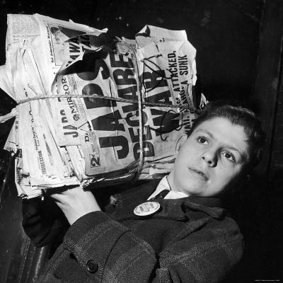 Boy from the Madison Square Boys' Club Carrying a Bundle of Newspapers After Attack on Pearl Harbor-Dmitri Kessel-Photographic Print