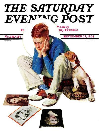 """""""Boy Gazing at Cover Girls"""" Saturday Evening Post Cover, September 22,1934-Norman Rockwell-Giclee Print"""
