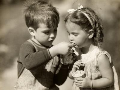Boy Gives Ice Cream To Sister-George Marks-Photographic Print