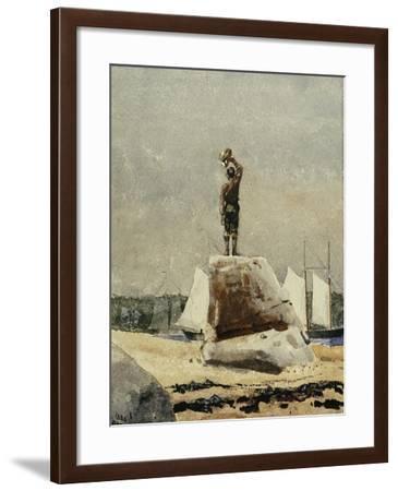 Boy Hailing Schooners, 1880-Winslow Homer-Framed Giclee Print