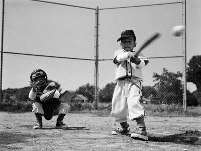 Boy Hitting Ball in Mid-Swing With Catcher Crouched Down-H^ Armstrong Roberts-Photographic Print