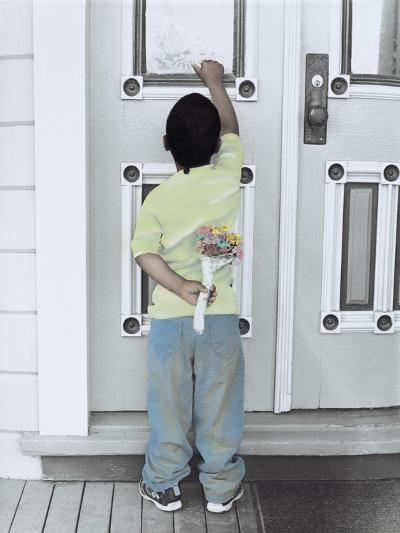 Boy Holding a Bouquet of Flowers Behind His Back While Knocking on the Door-Nora Hernandez-Giclee Print
