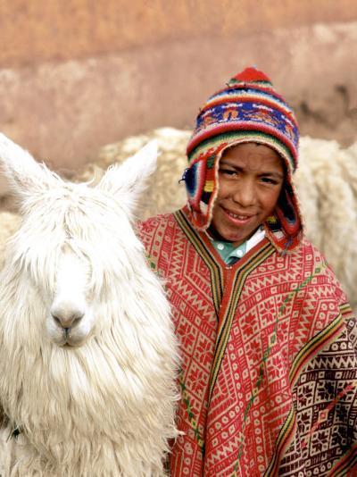 Boy in Costume with Llamas, Cuzco, Peru-Bill Bachmann-Photographic Print