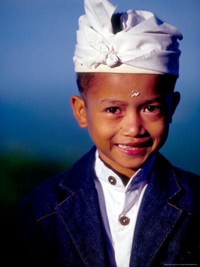 Boy in Formal Dress at Hindu Temple Ceremony, Indonesia-John & Lisa Merrill-Photographic Print
