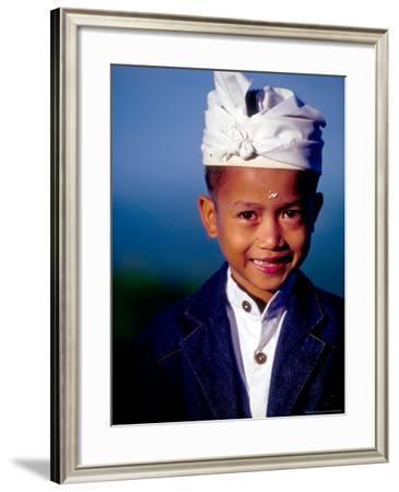Boy in Formal Dress at Hindu Temple Ceremony, Indonesia-John & Lisa Merrill-Framed Photographic Print