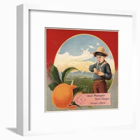 Boy in Orchard - Claremont, California - Citrus Crate Label-Lantern Press-Framed Art Print