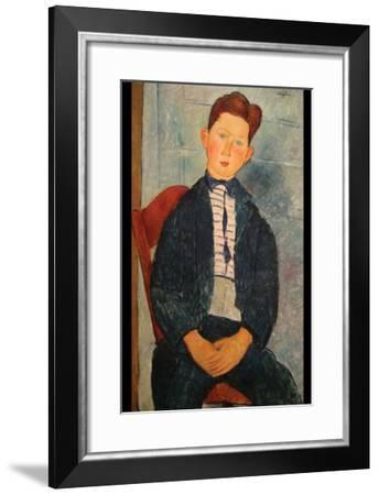 Boy in Striped Sweater-Amedeo Modigliani-Framed Art Print