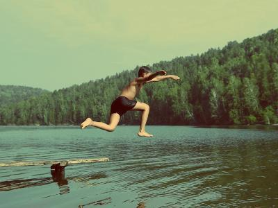 Boy Jumping in Lake at Summer Vacations - Vintage Retro Style-Kokhanchikov-Photographic Print