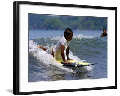Boy Learning to Surf, Morro Negrito, Panama-Paul Kennedy-Framed Photographic Print