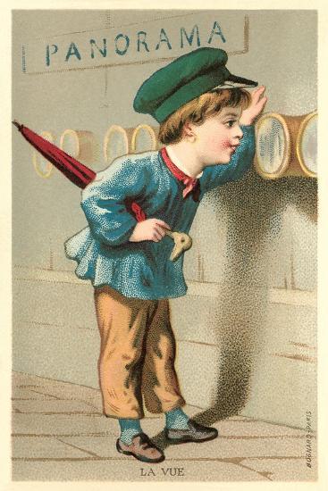 Boy Looking Through Port Holes--Art Print