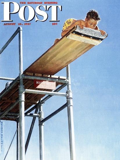 """""""Boy on High Dive"""" Saturday Evening Post Cover, August 16,1947-Norman Rockwell-Premium Giclee Print"""