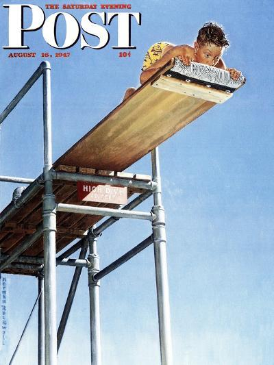 """Boy on High Dive"" Saturday Evening Post Cover, August 16,1947-Norman Rockwell-Giclee Print"