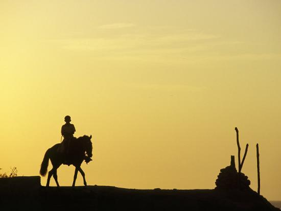 Boy on Horseback at the Beach Village of M! Ncora, in Northern Peru-Andrew Watson-Photographic Print