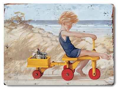 Boy on Trike--Wood Sign