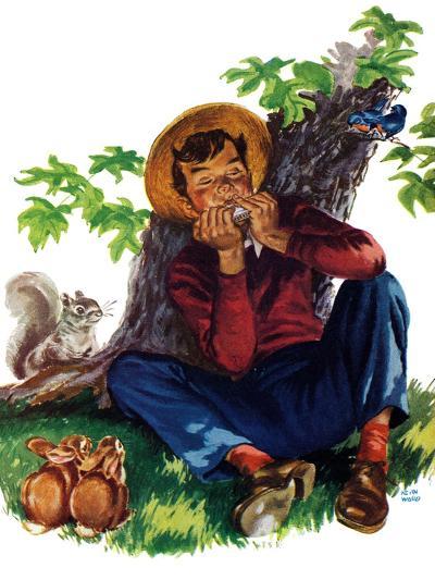 Boy Playing Harmonica - Child Life-Keith Ward-Giclee Print