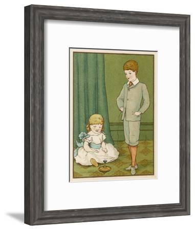 Boy Plays with His Humming Top While His Little Sister Watches--Framed Giclee Print