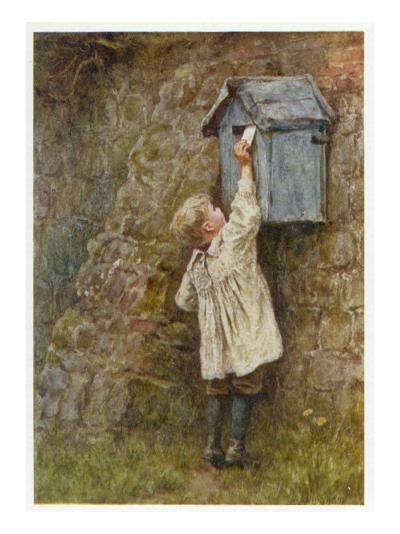 Boy Posting Letter 1887--Giclee Print