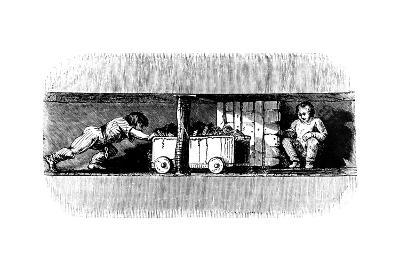 Boy Pushing a Truck Loaded with Coal from the Coal Face to the Bottom of the Pit Shaft, C1848--Giclee Print