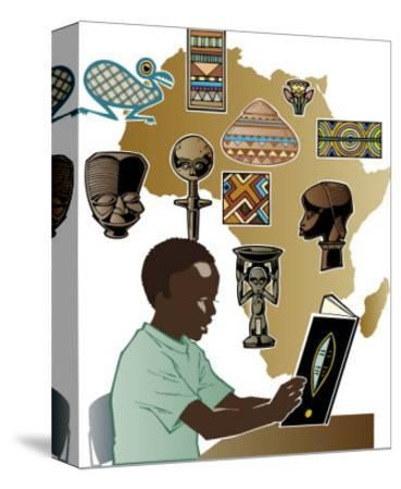 Boy Reading About Africa