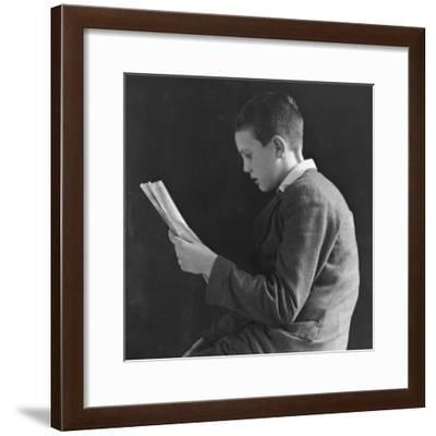Boy Reading, Photographic Portrait 1936--Framed Photographic Print