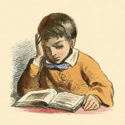 Boy Reading-English School-Giclee Print