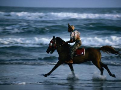 Boy Riding Pony on Beach Parangtritis, Central Java, Indonesia-Phil Weymouth-Photographic Print