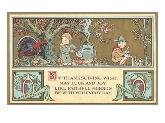 Boy Scouts Camping with Turkey--Art Print