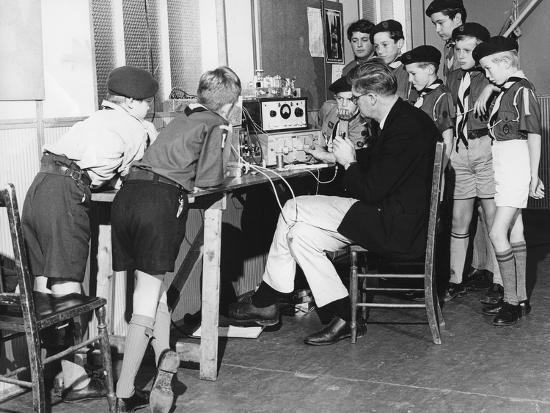 Boy scouts learning radio transmitting, 1960s-Tony Boxall-Photographic Print