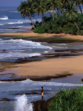 Boy Standing on Seashore Galle, Sri Lanka-John Borthwick-Photographic Print