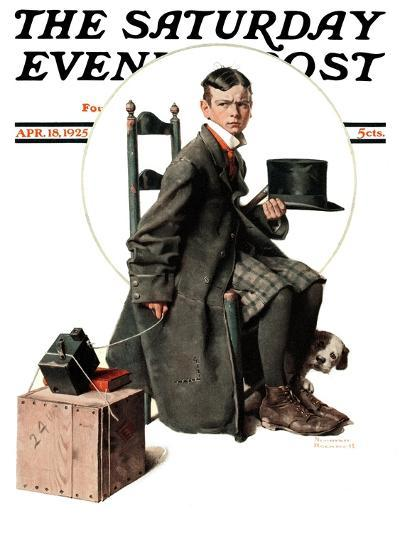 """""""Boy Taking His Self-Portrait"""" Saturday Evening Post Cover, April 18,1925-Norman Rockwell-Giclee Print"""