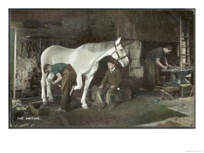Boy Watches as a Blacksmith Shoes a Horse--Giclee Print