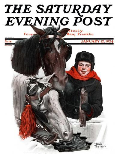 """Boy Watering Horses,"" Saturday Evening Post Cover, January 12, 1924-Leslie Thrasher-Giclee Print"