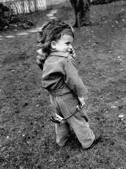 Boy Wearing a Davey Crockett Hat-Ralph Morse-Photographic Print