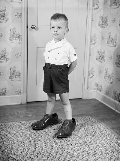 Boy Wearing Men's Shoes-Philip Gendreau-Photographic Print