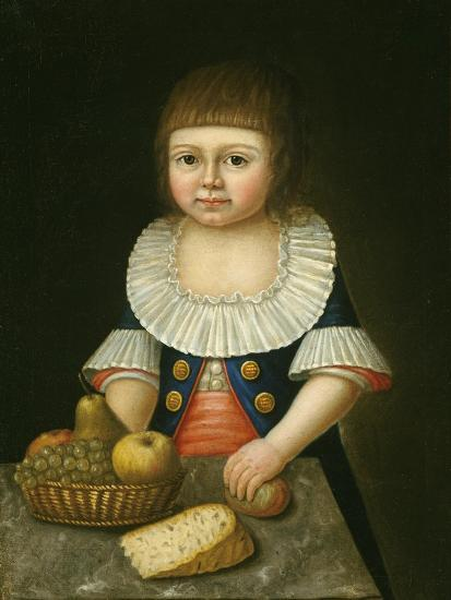 Boy with a Basket of Fruit, c.1790-American School-Giclee Print
