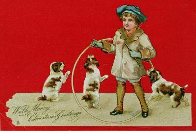Boy with a Hoop, Victorian Card--Giclee Print