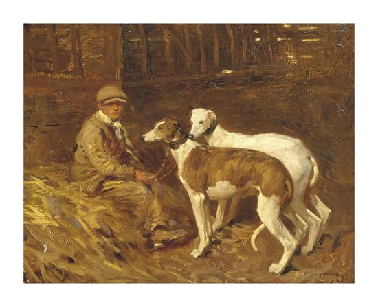 Boy with Greyhounds-Sir Alfred Munnings-Premium Giclee Print