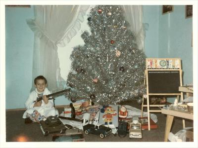 Boy with Gun and Fake Christmas Tree--Art Print