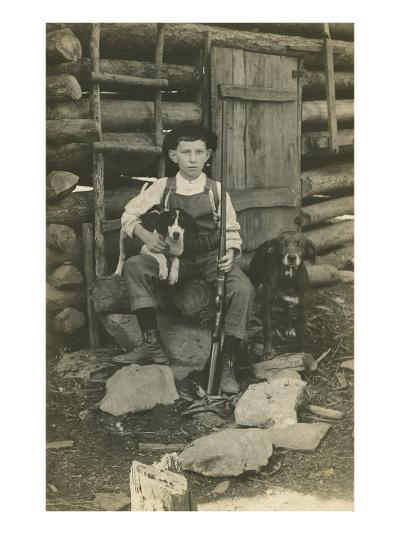 Boy with Rifle and Two Dogs--Art Print